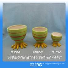Green Chick foot design ceramic egg cup holder for Easter Day