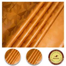 Golden Color 100% Cotton Reversible Sequin Fabirc For Women Dress Textile Fabric Printing Dyed Guinea Brocade