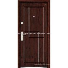simple design steel wood door with walnut color