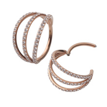 New 2020 products rose gold plated cubic zircon three layers hoop nose piercing Titanium ring