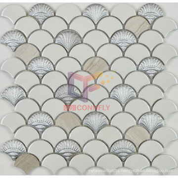 White Ceramic with Wooden Pattern Stone Fish Scale Mosaic (SA002)