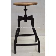 Tabouret de bar industriel base tubulaire en métal bois rond en bois de mangue