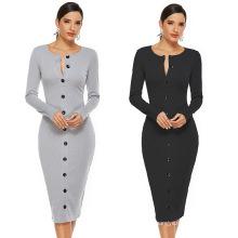 F009 Round collar open button long sleeve fashion sexy women's dress in long drawstring terylene slimming slim dress
