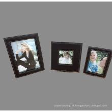 Preto qualidade PU couro quadros de fotos conjunto de 3