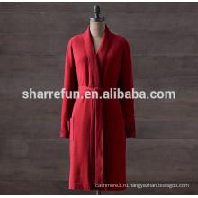 фабрика подгоняет длинный кабель вязаный стиль 100% чистого кашемира халат для женщин