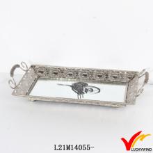 Прямоугольный антикварный зеркальный серебряный лоток