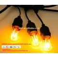 SLT720 Lumières extérieures de chaîne de patio étanche S14 ampoule, noir, 48 '