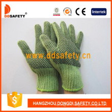 Heavy Weight Green String Knit with Black PVC Gloves Dkp206