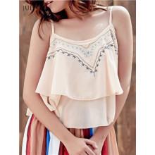 Mode gesticktes gekräuseltes Cami Tank Top für Frauen