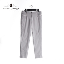 Pantalon Palazzo gris lâche anti-rides élégant Lady Office