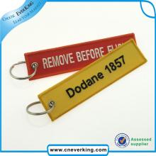 Cadeau de promotion de lanière de logo de porte-clés de broderie de broderie faite sur commande