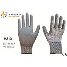 Hppe Shell PU recubierto de corte de resistencia guante de trabajo de seguridad (H3101)