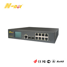 Gigabit 8 Port PoE Switch مُدار بشاشة LCD