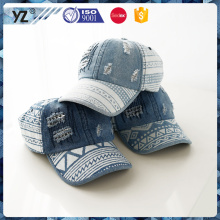 high quality washed wear jean nice 6 panel fur sports baseball cap white geometry printing cap baseball with wholesales