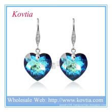 Wholesale austrian crystal simple hook jewelry blue heart crystal earring in silver hook