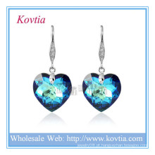 Atacado cristal austríaco simples gancho jóias coração azul brinco de cristal em gancho de prata