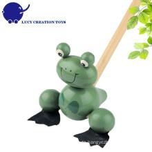 Vorschule Kinder Lovely Wooden Frosch Pushing Spielzeug