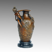 Vase Statue Boy&Girl Bronze Jardiniere Sculpture, D. Fondeurs TPE-575/576