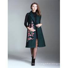 Inverno Dark Green Alibaba Woman Embroidered 2017 Ladies Sleeveless Trench Coat