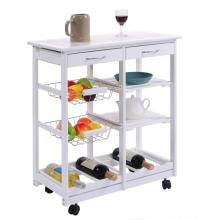 White Wooden Storage Kitchen Trolley Car
