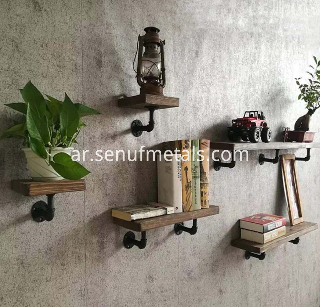 4Pcs Steampunk Decorative Rustic Pipe Shelving Bracket with Screw Accessories (3)