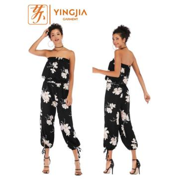 Frauen Backless Chiffon Jumpsuit beiläufige kurze Hosen