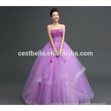 Kundenspezifisch Made in China Appliqued Lila Spitze Puffy Tüll Brautkleid 2017