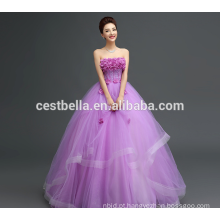 Custom Made Made in China Appliqued Purple Lace Puffy Tulle Wedding Dress 2017