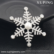 00035-xuping Italian jewelry pearl snowflake brooch for girls and women