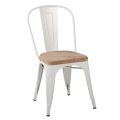 Cafe Restaurant Metal Tolix Chaise avec assise en bois
