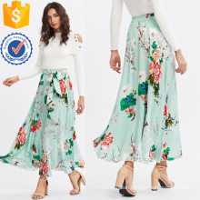 Self Belted Floral Skirt Manufacture Wholesale Fashion Women Apparel (TA3086S)
