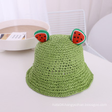 summer designer lady beach cute kids bucket straw hat with ear