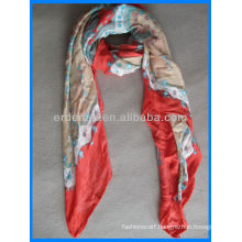Lady gift viscose print square scarf factory