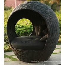 PE Rattan wicker Outdoor Furniture Bed Metal Lounger