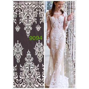 Venda por atacado branco laço francês materiais india africano algodão bordado rendas para casamento vestido