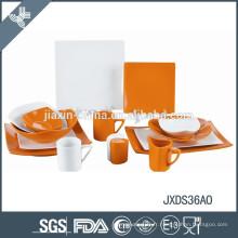 Ensemble de dîner en porcelaine fine, forme carrée, ensemble de dîner coloré 36pcs