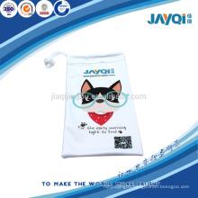white microfiber sunglasses pouch with logo print