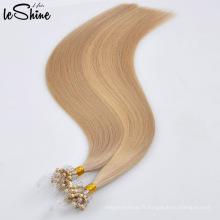 100% vierge remy humain cheveux naturels micro mince trame cheveux extension en gros