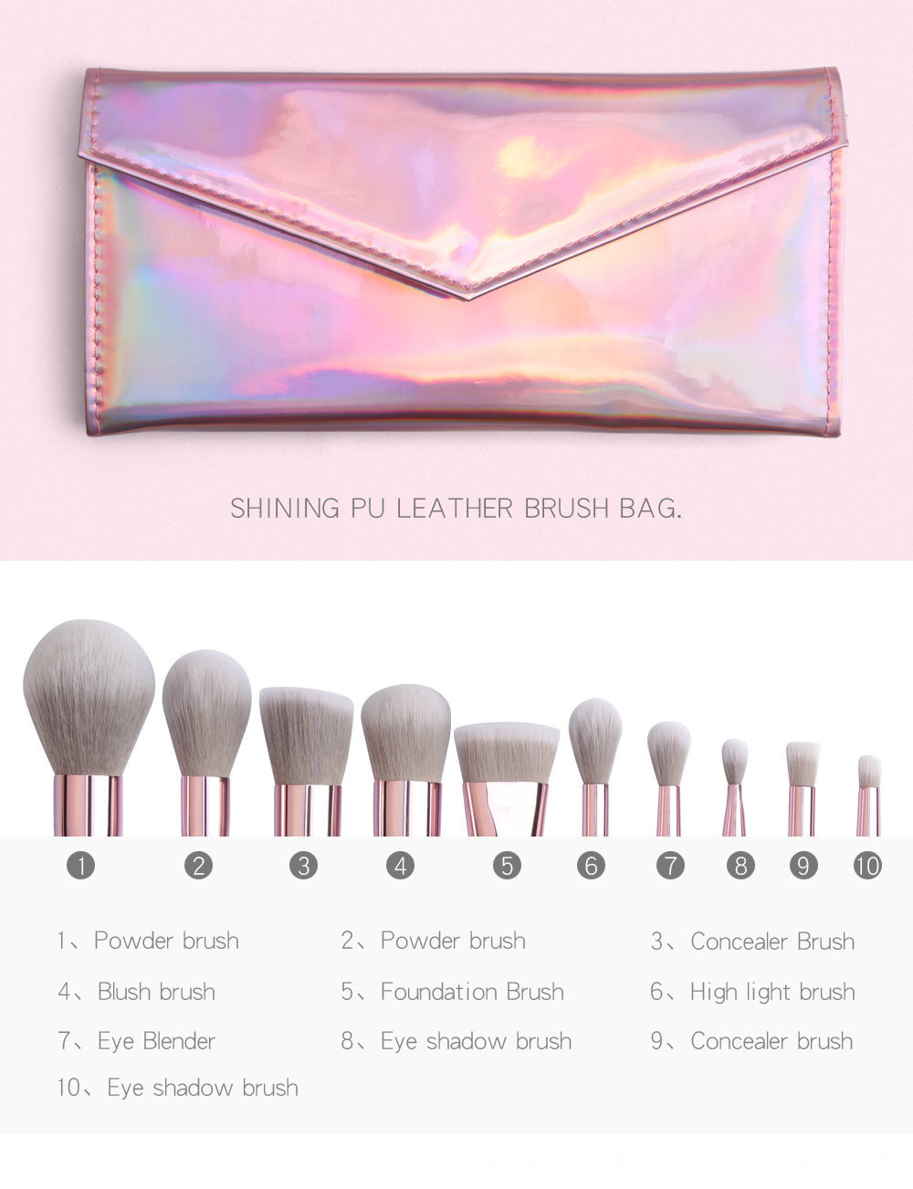 10 Piece Rose Gold Makeup Brushes Set name