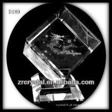 K9 3D Laser dragão dentro de cubo de cristal