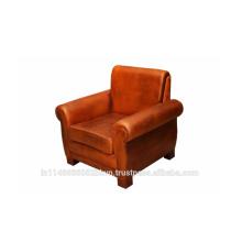 Sofá de cuero simple de cuero marrón de la sala de estar