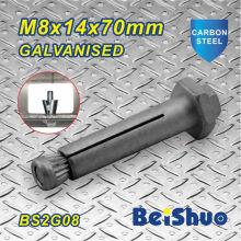 M8X14X70mm Fábrica direta de aquecimento galvanizado Expansão parafuso de ancoragem Hex