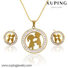 63822 Fashion Pretty CZ Rhinestone 24k conjunto de joyas de acero inoxidable dorado con forma de imitación en forma de un par de amantes
