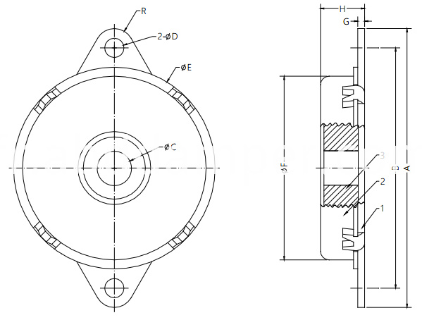 Rotary Damper Drawing For Auto Seats