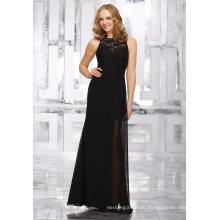 Black Sheath Lace Sequin Chiffon Bridesmaid Dress Evening Gown