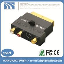 SCART à 3 RCA Phono Adaptateur AV vidéo et audio avec entrée Commutateur de sortie Nouveau
