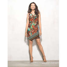 Africa Leaf Floral Print Zip Front MIDI Women Dress