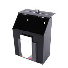 Custom Factory Security Key Lock Acrylic Charity Donation Suggestion Box