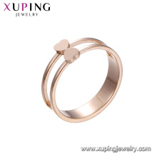 15123 xuping latest fashion style rose gold stainless steel ring jewelry