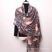 New Trend Winter Stylish Leopard Design Tassels Head Wraps Scarf Office Ladies Warm Shawl Scarves